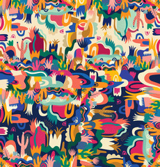 Fototapete - Abstract colorful tropical vector pattern
