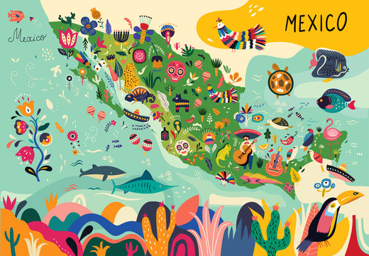 Map of Mexico with traditional symbols and decorative elements.
