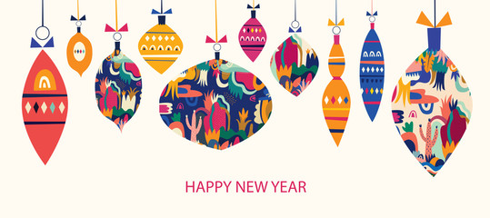 Fotomurales - Christmas banner with christmas toys. Greeting vector illustration for decoration of holidays New Year and Christmas. New Year Banner.