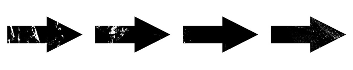 Set of grunge style arrows in black on white background