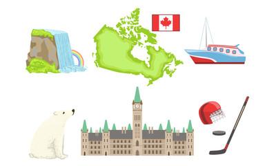 Canada Traditional Symbols and Attractions Set, Niagara Fall, Map, Ship, Parliament Building, Poalr Bear, Hockey Signs Vector Illustration