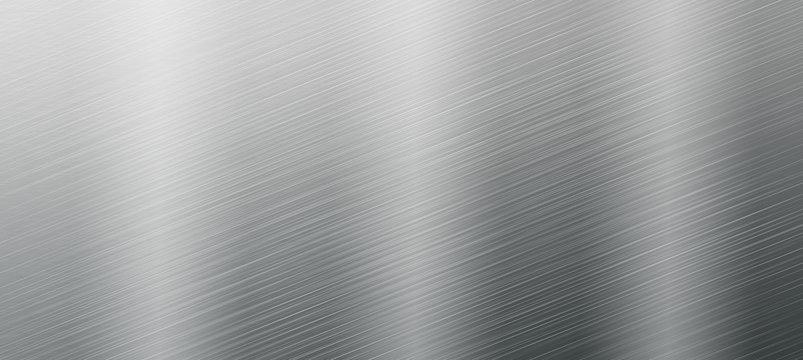 Edelstahlblech mit Lichtreflexionen gebürstet