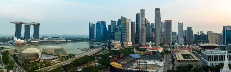 Super wide angle image of Singapore skyscrapers before sunset