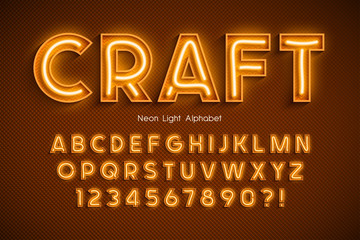 Neon light 3d alphabet, extra glowing font. Fotomurales