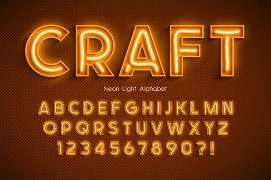 Neon light 3d alphabet, extra glowing font.