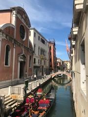 Autocollant pour porte Venise canal in venice