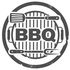 round grungy barbeque BBQ rubber stamp print with grill and utensils vector illustration