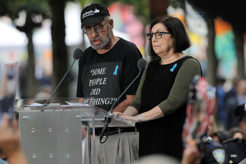 Nick Haros reading 911 victims' names references U.S. Rep. Ilhan Omar (D-MN) during ceremonies commemorating 18th anniversary of September 11, 2001 attacks at the 911 Memorial in New York