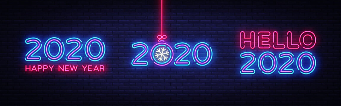Big set 2020 Happy New Year Neon Text. 2020 Hello New Year Design template for Seasonal Flyers and Greetings Card or Christmas themed invitations. Light Banner. Vector Illustration