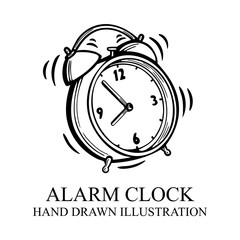 Alarm clock. Hand drawn alarm clock illustration. Alarm clock sketch isolated on white background. Wake-up time concept. Part of set.