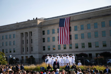 U.S. President Donald Trump speaks during a ceremony marking the 18th anniversary of September 11 attacks at the Pentagon