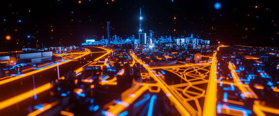 Abstract 3d render of techno mega city. Urban and futuristic visual technology concepts Fotomurales