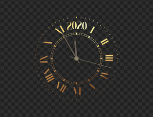 2020 New Year shiny gold clock, five minutes to midnight. Merry Christmas