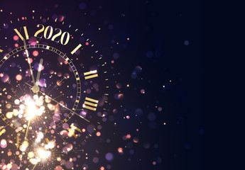 2020 New Years background vintage gold shining clock report time five minutes to midnight