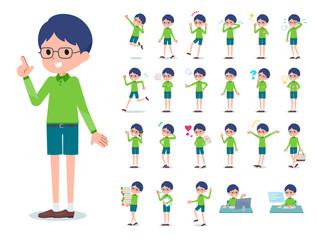flat type Green clothing glasses boy_emotion
