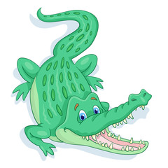 Funny big crocodile are creeping with open mouth. In cartoon style. Isolated on white background.