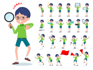 flat type Green clothing glasses boy_Action