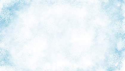 Abstract Blue white Winter Background with Snowflakes and Ice Effect