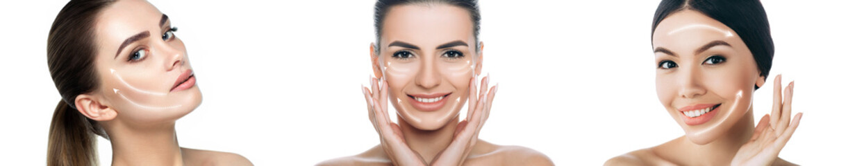 Wall Mural - Collage different female faces with lifting arrows on face isolated on white. Skin lift concept