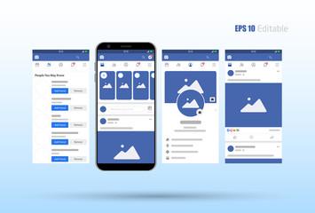 Modern set of social network photo, post frames mock up template, facebook mock up concept vector