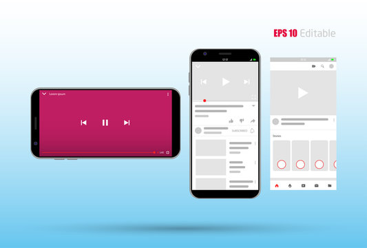 social media mobile app new feed, home page trend mock up, mobile video live on blank screen concept