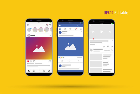 Modern Social Media new feed, post and home page mockup with smartphone and editable background Vector.