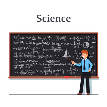 Young university professor standing in front of chalkboard filled with formulas giving lecture on mathematics