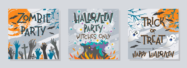 Bundle of Halloween posters with zombie hands,ghosts,witch cauldron and flying bats.Halloween design perfect for prints,flyers,banners invitations,greetings.Vector Halloween illustrations.