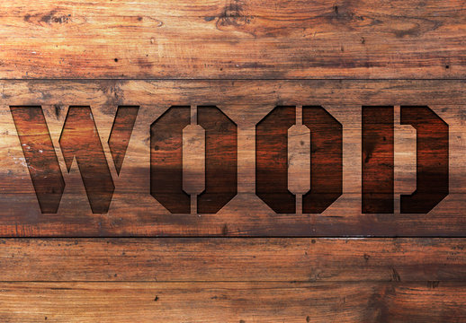 Wood Text Effect Mockup