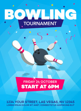 Modern bowling tournament poster invitation template with scattered skittles and bowling ball - blue version.