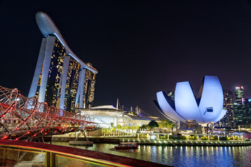 Aluminium Prints Singapore Marina Bay Sands Hotel and Art and Science Museum by Night, Singapore