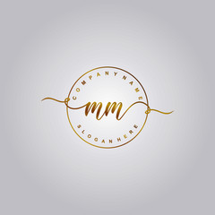 Initial letter MM beauty vector handwriting concept logo