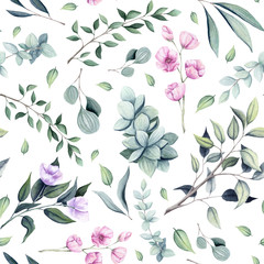 Seamless Pattern of Watercolor Green Leaves and Tree Branches