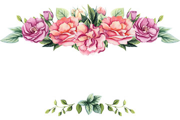Frame with Watercolor Colorful Flowers