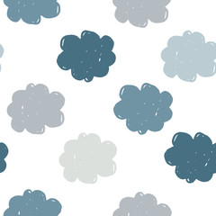 Simple clouds seamless pattern. Weather background. Texture for wallpaper, background, scrapbook. Vector illustration