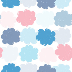 Simple colored clouds seamless pattern. Weather background. Rain backdrop. Texture for wallpaper, background, scrapbook. Vector illustration