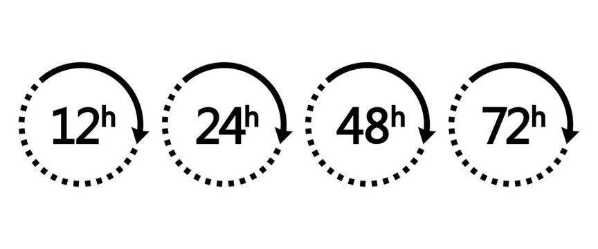 12, 24, 48 and 72 hours clock arrows. Set of black icons work time or delivery service time. Vector illustration
