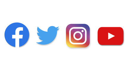social media : facebook, twitter, instagram, youtube