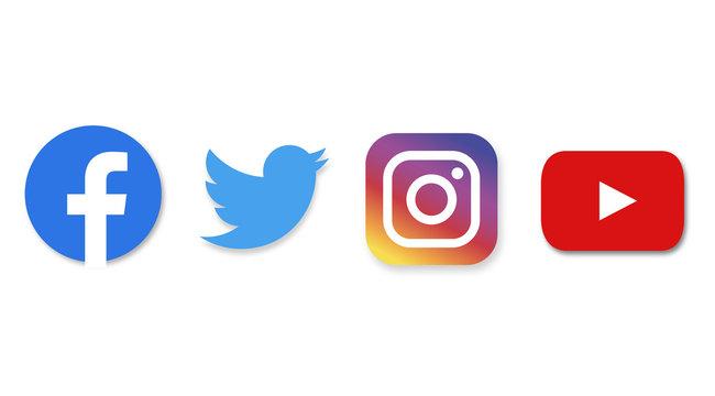 social media : facebook, twitter, instagram, youtube
