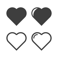 Heart icons set. Vector on a white background