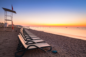Beautiful sunrise at the beach of Turkish Riviera, Tekirova