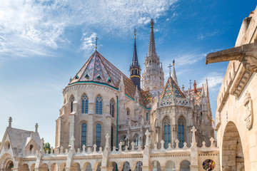 Deurstickers Boedapest The Matthias Church in Budapest, Hungary, Europe. View from the Fisherman's Bastion.