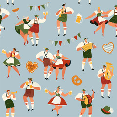 Oktoberfest. Funny cartoon characters in Bavarian folk costumes of Bavaria celebrate and have fun at Oktoberfest beer festival. Party Concept Flat Vector Illustration. Seamless pattern.