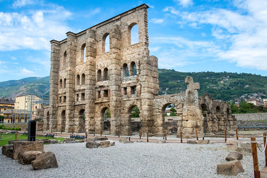 remains of the ancient roman theatre of Aosta, Italy