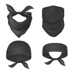 Set of isolated bandanna and face mask