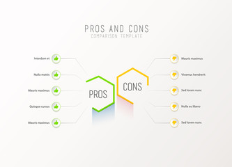 Pros and Cons comparison vector template light vector template with blue and purple hexagons and circles and place for your comparison text.