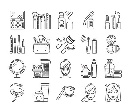 Cosmetic products and professional facial makeup line icons set. Feminine skincare. Beauty industry. Pictogram for web page, mobile app, promo. UI UX GUI design element.