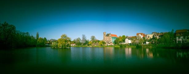 Panorama of village pond
