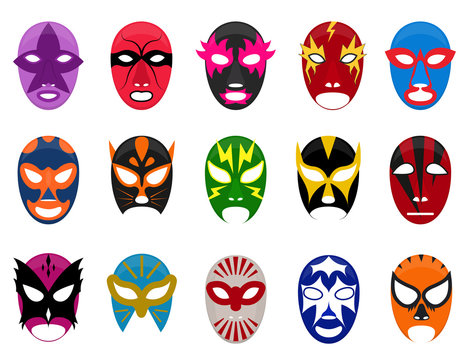 Cartoon Color Mexican Wrestling Mask Icon Set. Vector