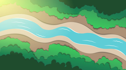 Foto auf Gartenposter Beige Arial view of forest and river.Green nature landscape . paper art style vector illustration.